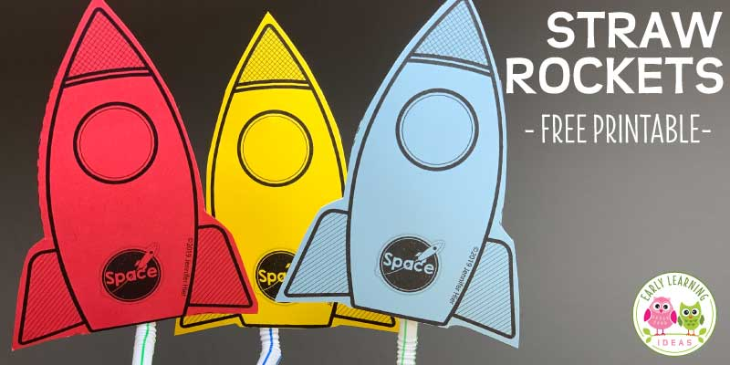 Your kids can easily launch these fun free printable rockets with a simple straw. Lots of ideas for science and #STEM learning are included. Kids can engineer their own rockets or modify and experiment with the printable straw rockets to fly better. Use the free printables in your science center or as a small group activity to go with space theme or transportation theme unit or lesson plans. Click to get your free printable today. #preschoolscience #preschool #prek #spacetheme