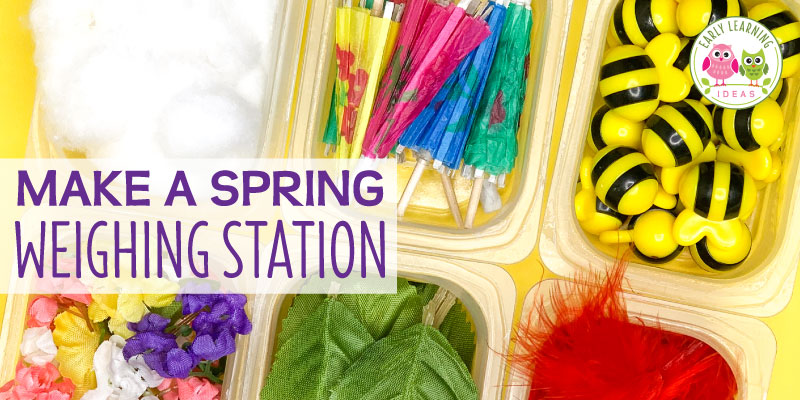 Get out your balance scale or bucket scale! Here are lots of spring and summer-themed material ideas that you can use in your weighing station. Create a weight station in your math center, science center, or STEM center. Find lots of material ideas and printables to create your own measurement learning center in your preschool, pre-k and kindergarten classroom. Perfect for Easter theme, garden theme, bug theme, weather theme, ocean theme etc. Your kids will love this hands-on math activity.