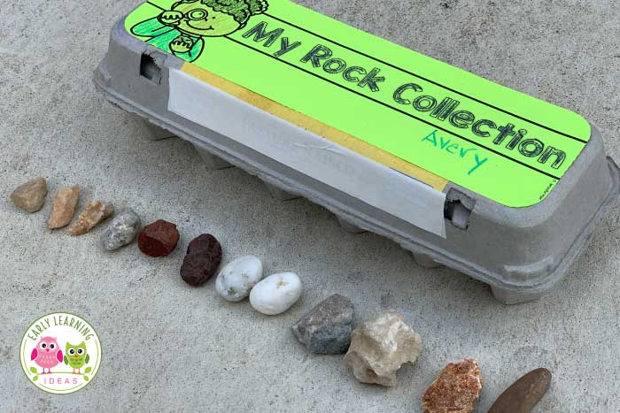 Use this free printable to create a rock collection container from a simple egg carton and get ideas for over 20 fun learning activities with rocks. Here are some fun learning activities for your preschool, pre-k, kindergarten, or for at home learning. Teach kids about the science of rocks and minerals while using this rock collection for cheap, easy, and fun math, measurement, and sorting activities.