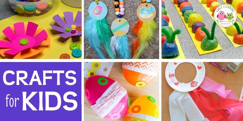 Here are the most popular craft projects to do with kids from the Early Learning Ideas website.  Check out this visual library to find some inspiration for fun and easy projects to do at home with your kids. Kids will love these cool projects that you can make with simple and cheap supplies like paper plates, popsicle sticks, and pipe cleaners. Perfect for at home learning with your preschooler.