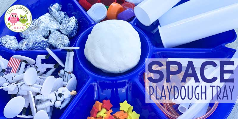 Learn how to easily create a space theme playdough tray for your preschoolers with these material ideas. Your kids will love this invitation to play. Perfect for open-ended play in preschool, pre-k or kindergarten classroom for a space-themed or transportation theme unit or lesson plans. Combine fine motor skills activities, sensory play, + science. Your little astronauts can explore planets, rockets, the moon in a hands-on play-based way - with play dough. Click to get lots of ideas.