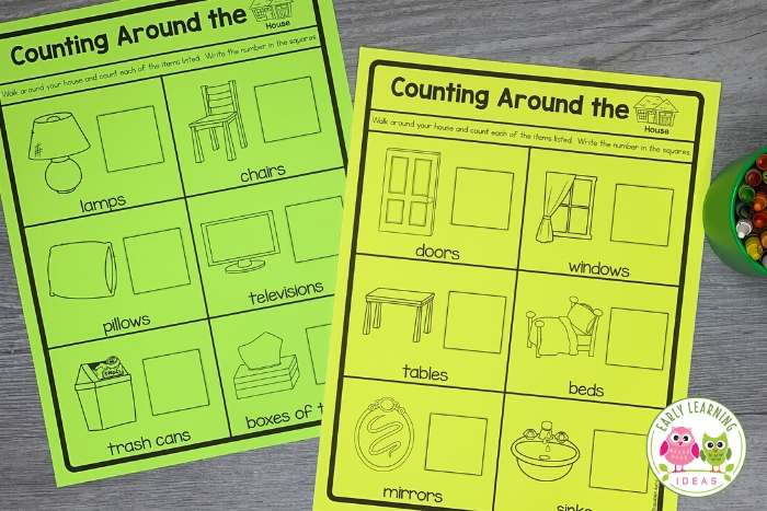 Looking for ideas for preschool activities at home? Counting activities can be fun, easy, and cheap. Use these free printables to send your kids on a mission to count things in your home. They will have a blast as they practice counting. Kids will have so much fun the won't even realize that they are learning .... and that makes teacher math easy for you! Click to get your free printable today.