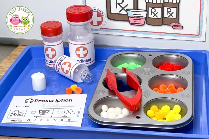 Find lots of ideas to create a doctor dramatic play area for your preschoolers. Kids can learn science, literacy, and math concepts in a fun way as they play and pretend in their doctor's office or hospital. DIY ideas and printables for waiting rooms, reception desk, x-ray, radiology, hospital lab or laboratory, exam room. Use in preschool, pre-k, kindergarten classroom or at home or homeschool setting. Click to learn more.