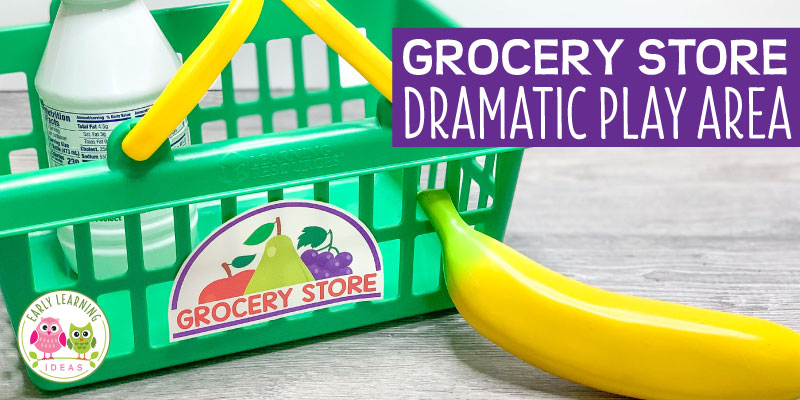 Find tips & ideas to set up a fun grocery store dramatic play area in your preschool classroom or at home. Get directions for food, props to add to your center (free, inexpensive and DIY ideas are included). Find examples of printables and ideas to add literacy elements and math elements to promote play-based learning. Perfect for a grocery store, farmers market, supermarket that your kids will love.