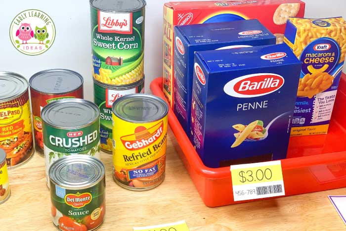 grocery props for a grocery store pretend play set up
