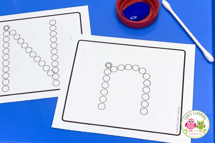 Kids love learning letters using this fine motor activity. Get out your q-tips for a fun & easy way to teach letter recognition & proper letter formation. If you are looking for ways to the letter of the alphabet, check out these ideas for your preschool, pre-k, OT, or kindergarten classroom .... or for at home learning. Ideas for cotton swab painting, pencil eraser printing, and pokey pinning are included. Get a free printable letter A activity.