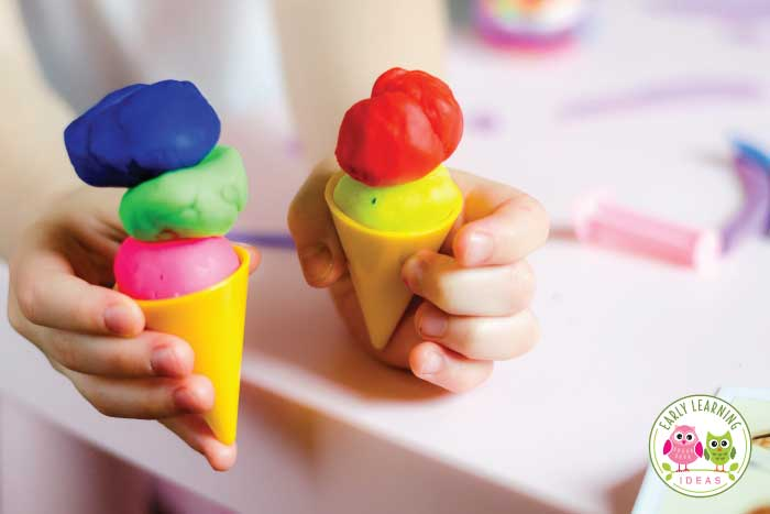 Use playdough for language and pretend play activities.  Find playdough ideas for your preschoolers.
