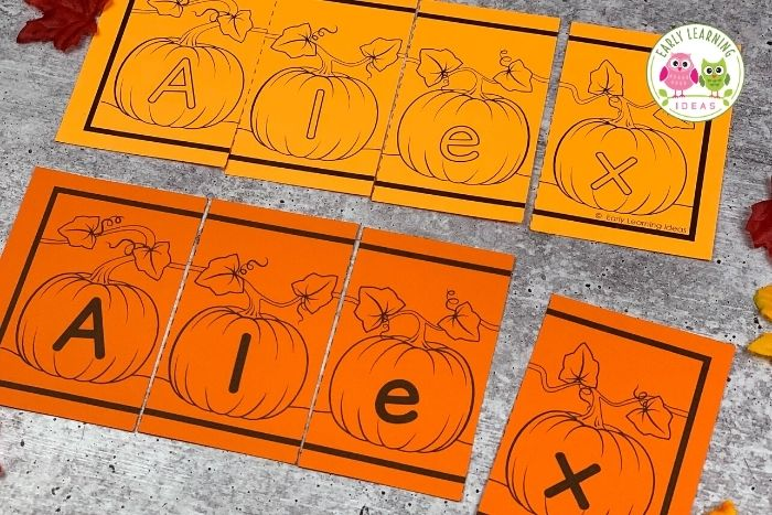 Use these 11 different printable name puzzles with your preschoolers for name and literacy activities. Find ideas for the whole year! Perfect for your preschool or kindergarten classroom, or at-home learning or homeschool. Teach your kids to spell their names, construct their names, and the beginning steps to writing their names with these hands-on activities. Make learning fun in fall, winter, spring, & fall with themes from pumpkin, Thanksgiving, caterpillar, snowman, and many more!