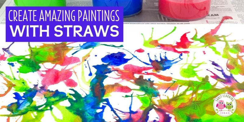 Blow painting with straws is an exciting and creative process art project for kids. Your kids will love these straw blown paintings!. Straw painting is an easy art project for kids in preschool, pre-k or a home. Make monsters, ocean coral, germs, peacock or just let them create open-ended art. Paint on canvas or paper....includes ideas for experimenting.