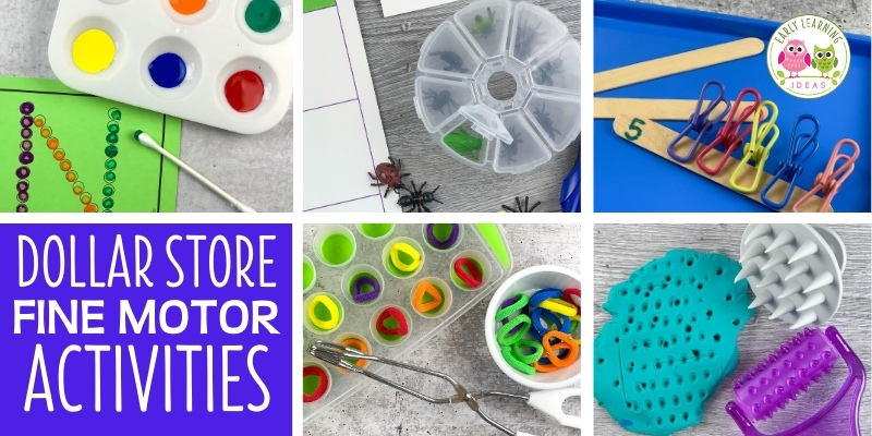 Find ideas for fun and inexpensive dollar store fine motor activities for kids. Use this list to earn how to make fine motor skills activities for cheap. Use everyday household items that you can find a Dollar Tree for fine motor learning activities. Perfect for preschool, pre-k, kindergarten, and occupational therapy classrooms or to do at home. Spring, summer, winter, and fall, you will find activity ideas, fine motor tools for all seasons. Click to learn more today.