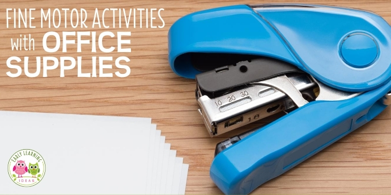 Find many ways to use everyday household items like office supplies for fun fine motor activities to do at home & in preschool, pre-k, kindergarten, and occupational therapy classroom. Your kids will love this list of simple activity ideas for building fine motor skills. Find fine motor tools in your office or desk drawer. Activities for your kids can be used any time of year spring, summer, winter and fall.