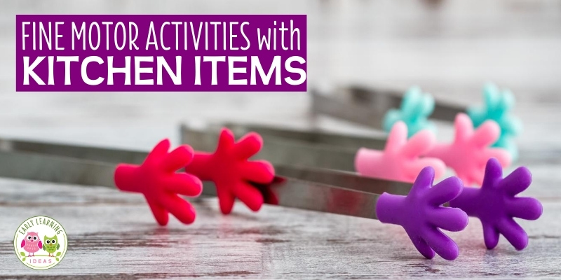 Find over 40 fine motor activity ideas with kitchen items. Learn how to use common everyday household items as fine motor tools for kids. Fun & easy fine motor skills activities for kids in preschool, pre-k, kindergarten, occupational therapy, and at home. Your preschoolers will love these fun activities for spring, summer, winter & fall. Find ideas to build hand strength (more than squeezing) and finger control to aid in developing little hands for writing and using scissors.