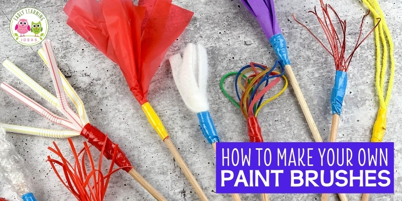 Learn how to make your own paint brush for kid's art. Find endless ways to make DIY paintbrushes for preschool art at home or in school. Homemade paintbrushes are great for winter, spring, summer and fall open-ended and process art activities. These projects are an easy way to experiment with art supplies and are a fun way to work on STEAM or STEM activities. Perfect for preschool, pre-k, and kindergarten art activities. From feathers to string to clothespins ..... so many different ideas.