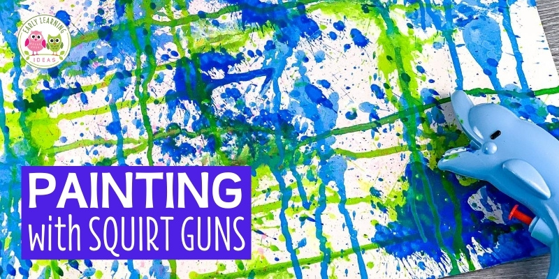 Squirt gun painting is a fun fine motor, hand strengthening, and process art activity for preschool and pre-k. Learn how to do this fun open-ended art project with your kids today. Are you for how to improve hand strength? Squeezing the water gun builds hand strength. This creative art activity is perfect for spring, summer, and fall in school or at home.