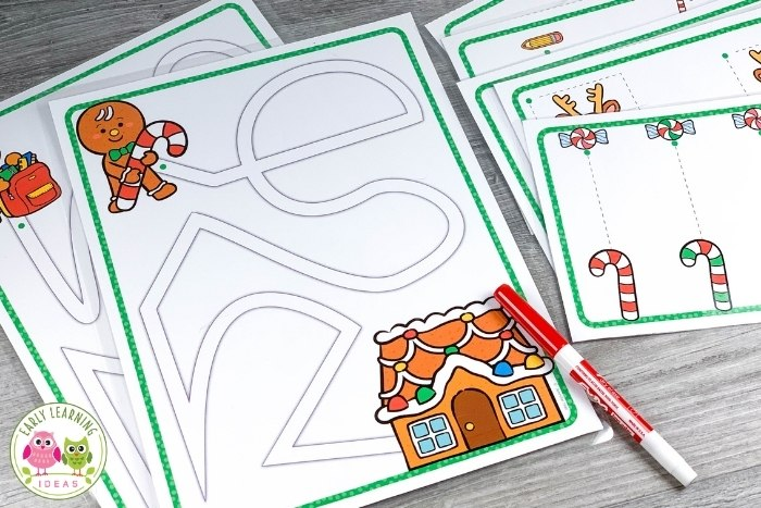 Christmas fine motor maze for pre-writing practice