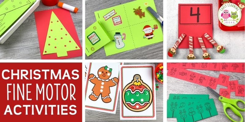 Your kids will enjoy these fun & easy Christmas & holiday fine motor activities. The ideas are great for your preschool or pre-k classroom or at home. Kids can practice fine motor skills like pre-writing, scissor skills, and hand strength. Early childhood art & craft and sensory projects are included too. Some are cheap and use household items. Click to check out the ideas today.