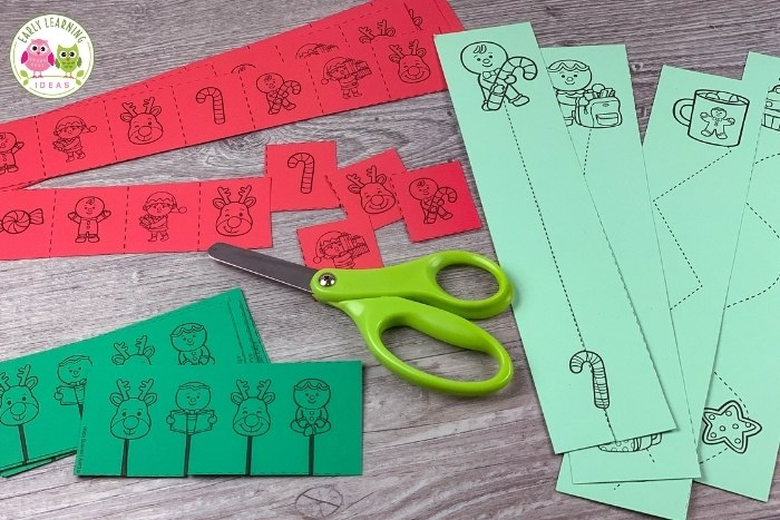 Christmas fine motor and cutting practice activities