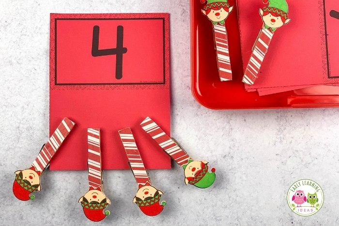 Christmas elf count and clip card activity