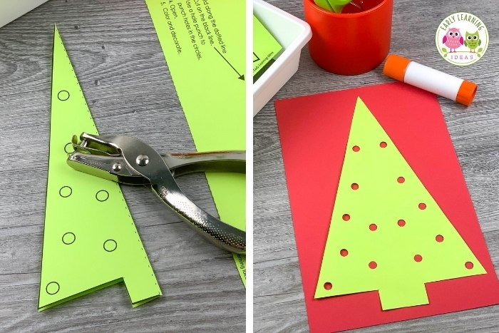 Christmas tree cutting and hole punch actiivty