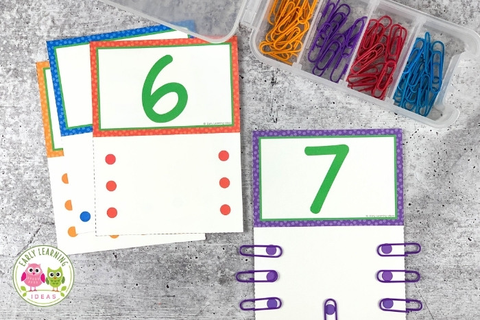 counting number cards with paperclips