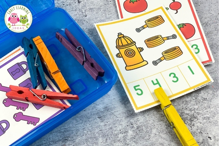 counting clip cards with colored clothespin clips