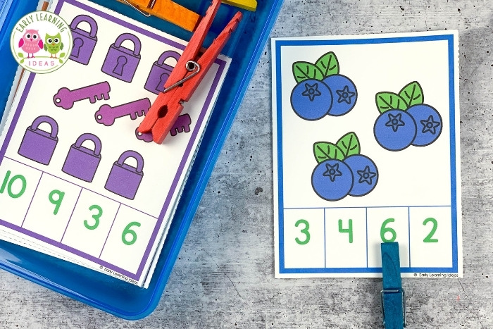 count and clip cards with clothespin clips