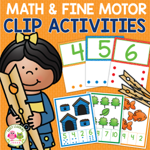 count and clip cards for fine motor and math activities