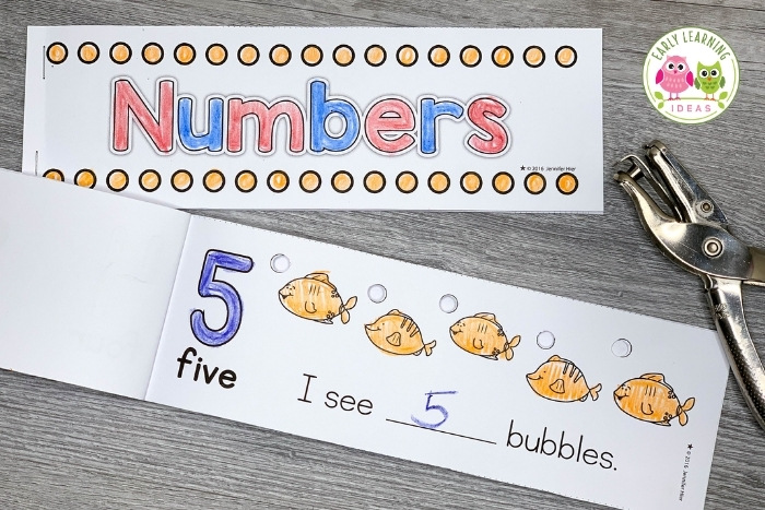 hole punch number book combines fine motor and math activities