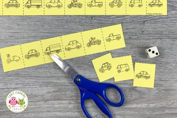 use snip strips as a fine motor counting activity