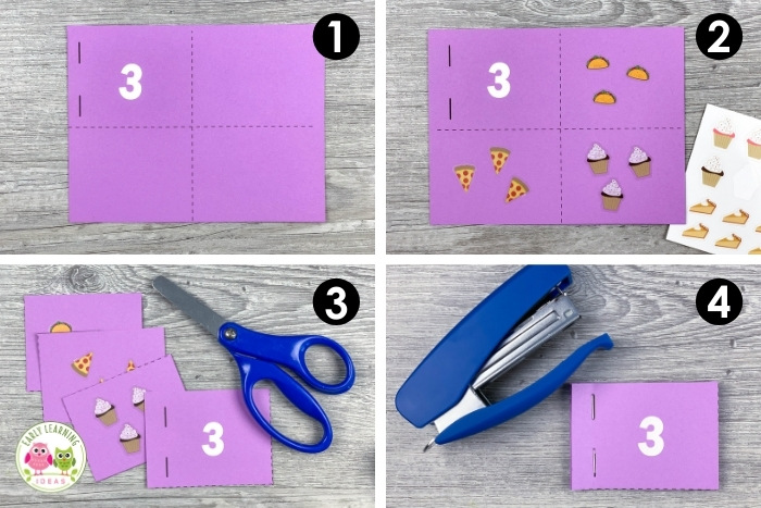 make a number book as a scissor skill and fine motor math activity