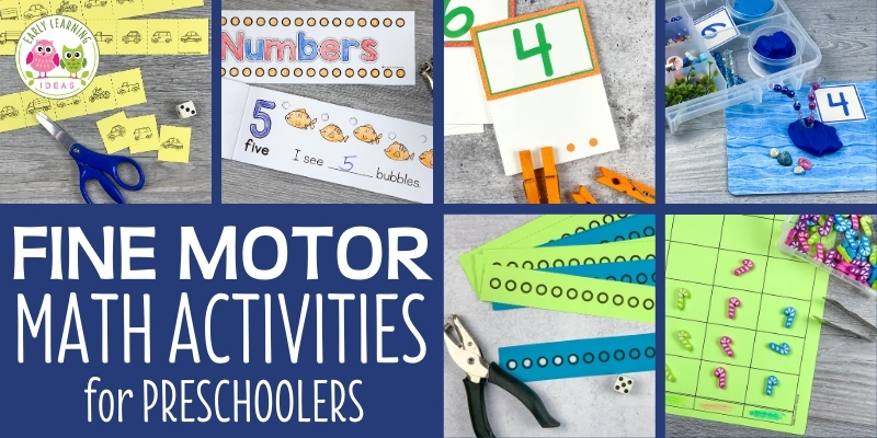 Find engaging fine motor math activities for your preschoolers. Combine fine motor skills practice with hands-on math with these fun ideas for kids. Perfect for your preschool, pre-k, or kindergarten classroom centers for eyfs. 3 and 4 year olds can work on counting, patterning, shapes, numeracy, number skills, number recognition, hand strength, pincer grasp, and constructing numbers with these fun math center ideas & games. Perfect for small group, individual, or at home activities