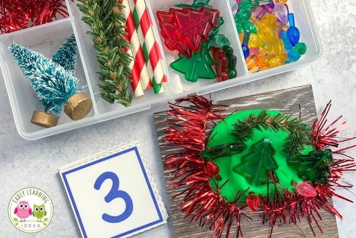 Christmas playdough kit with number cards
