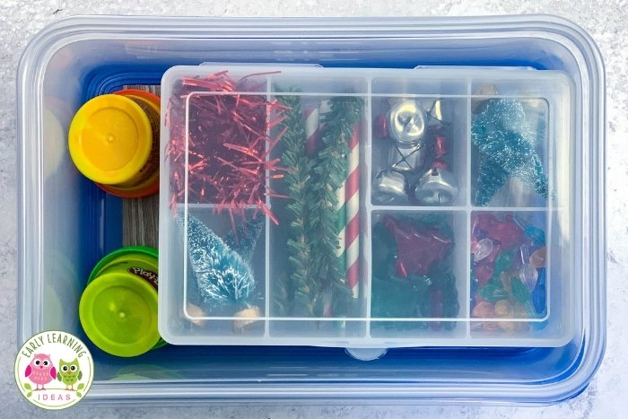 Playdough kit in a Ziploc container