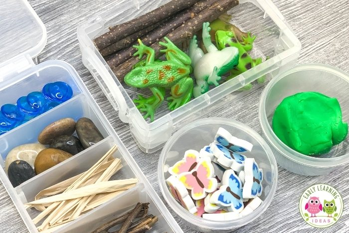 different containers for playdough kits