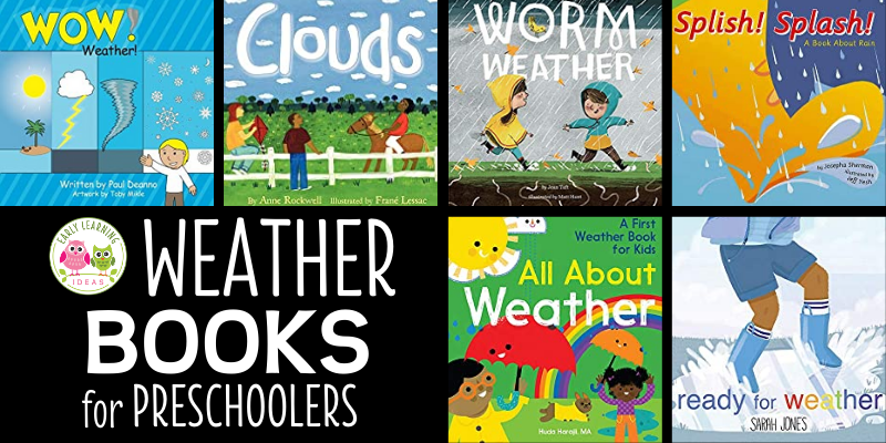 Are you looking for books for your weather theme? Spring, summer, winter, and fall... you will find books for all seasons that are perfect for your preschool, pre-k, or kindergarten circle time, storytime, classroom library, or science center. How do you explain weather concepts to kids? Try these books for preschoolers. Help kids understand storms, seasons, weather, snow, rain, wind and dressing for the weather.