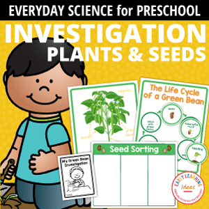 plant and seed investigation - a science activity for preschoolers - includes a green bean investigation