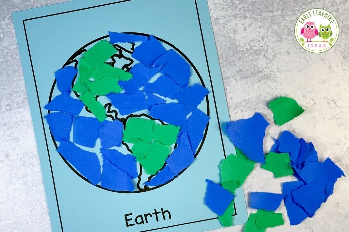 Earth day activity with torn paper