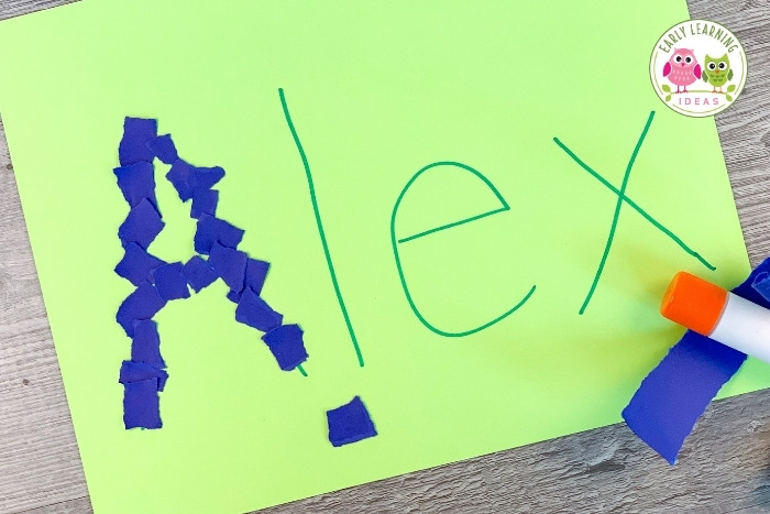 tearing and pasting paper name project