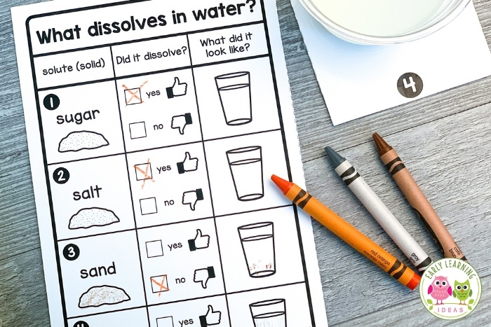 Preschool water experiment free printable