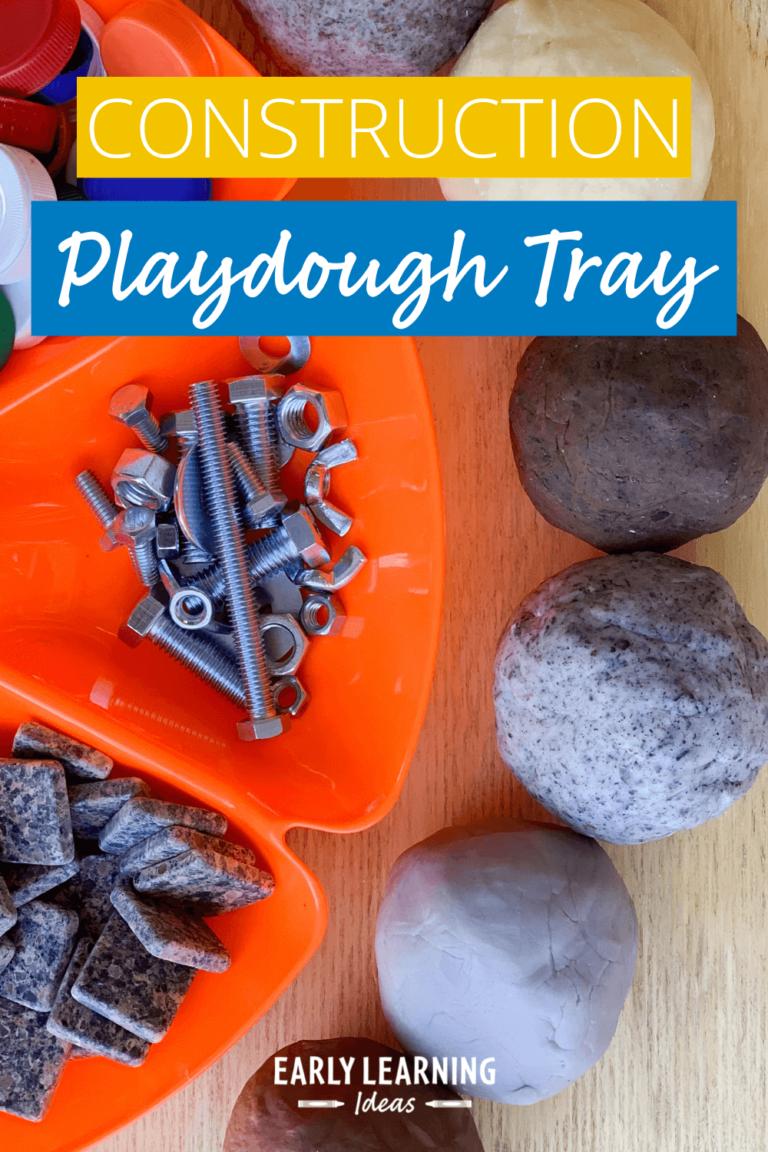 How to Make a Construction Themed Playdough Tray