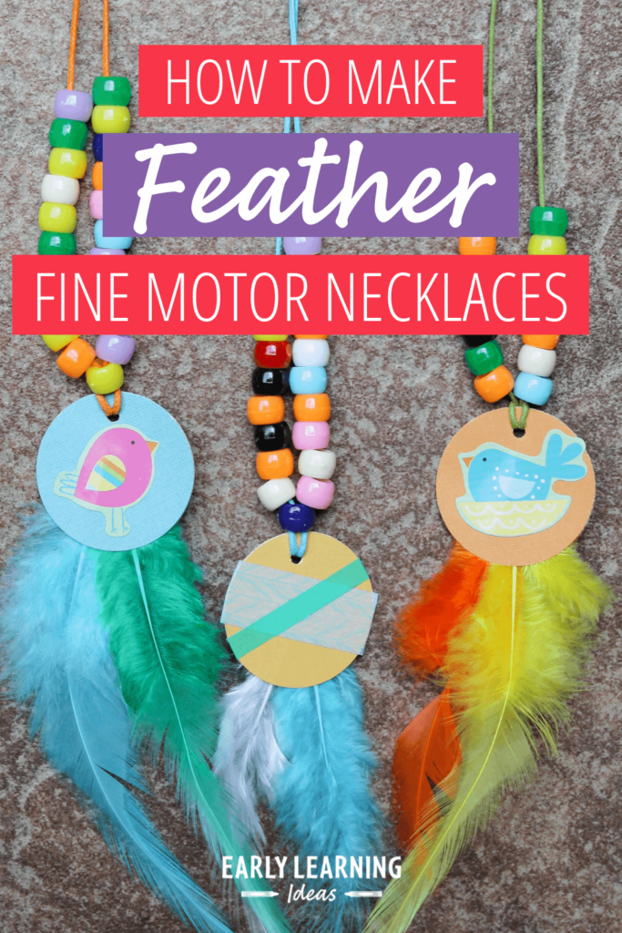 feather fine motor necklace activity