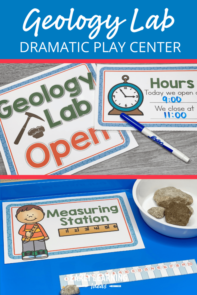 make a geology lab dramatic play area