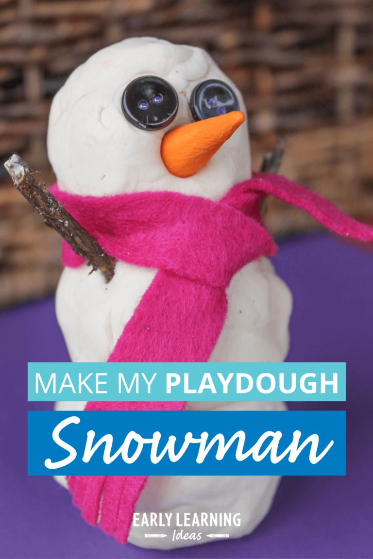 Make a Playdough Snowman:  Winter Fine Motor Activity for Kids
