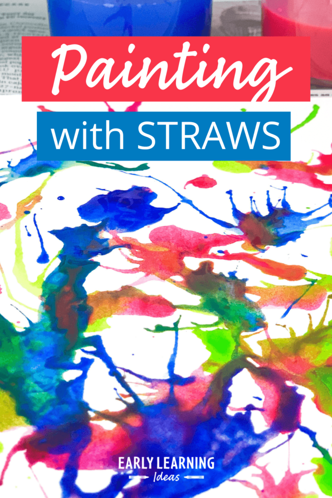 blow painting with straws for preschoolers