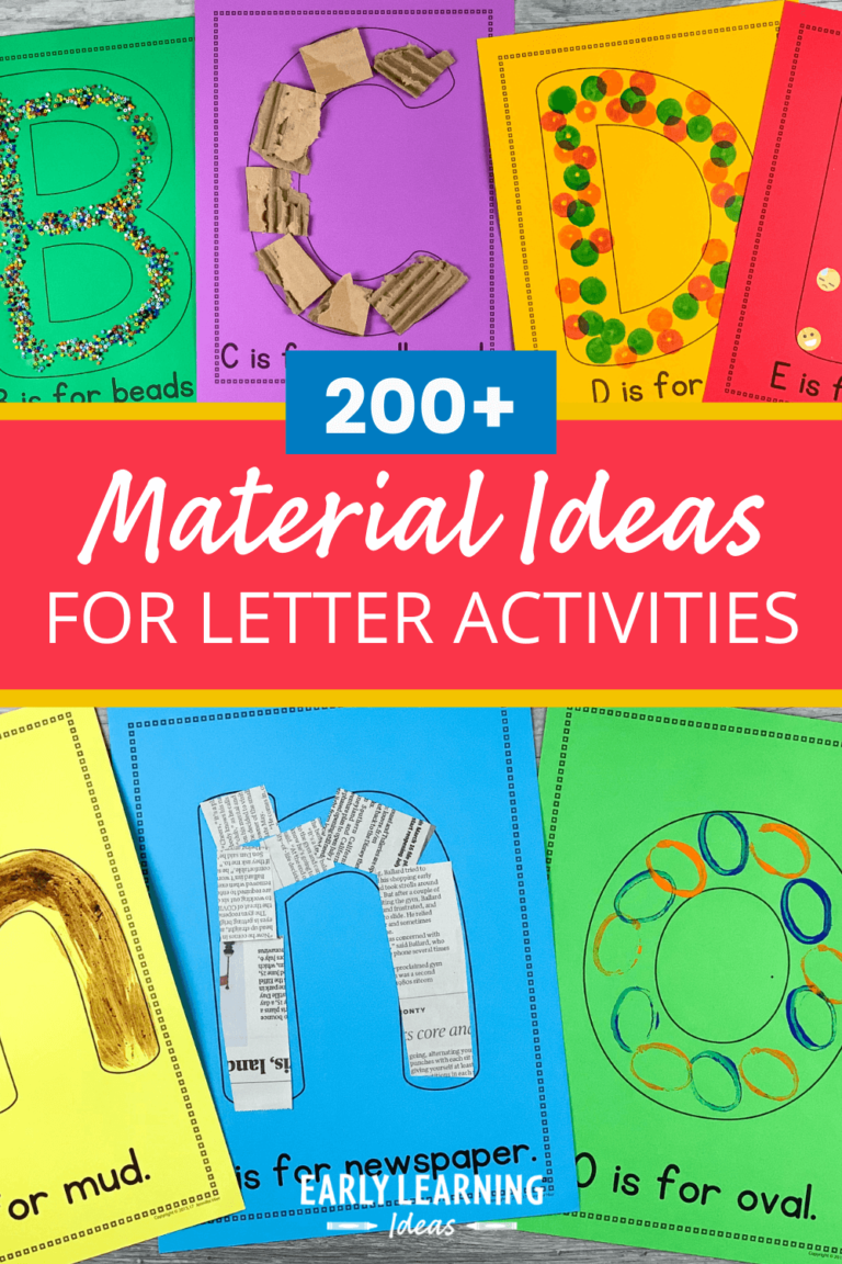 FREE list: 200+ Materials for Preschool Letter Activities and Collages