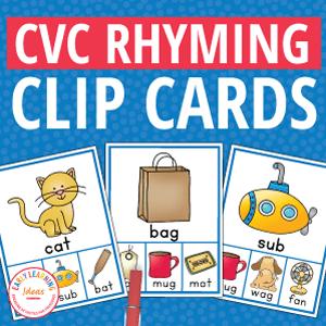 cvc rhyming activity clip cards