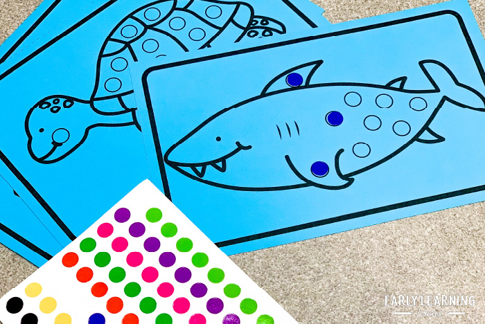 ocean theme fine motor activity with dot stickers