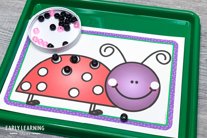 lady bug fine motor activity with beads