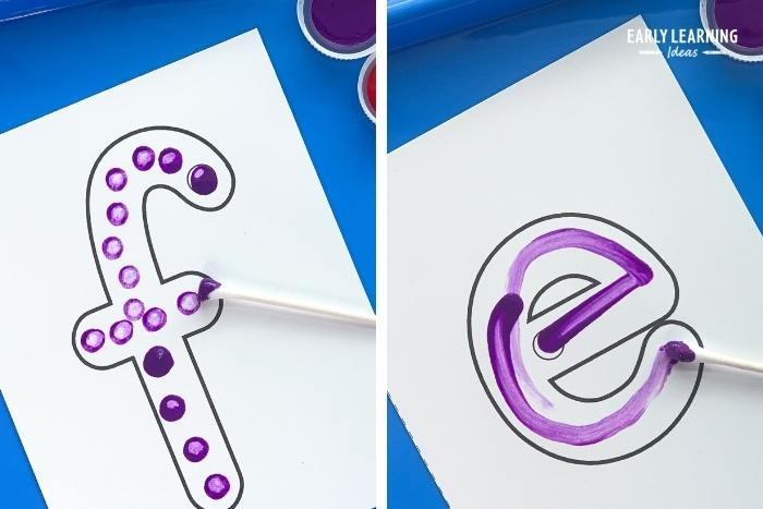 q-tips and paints to trace letters