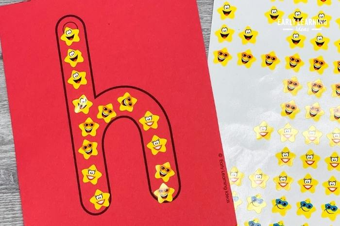 Use stickers to practice forming letters